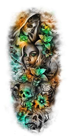 pics pics art pics awesome pics beautiful pics design pics for men pics ideas pics ink pics photography pics tatoo Sugar Skull Sleeve, Skull Sleeve Tattoos, Sugar Skull Tattoos, Best Sleeve Tattoos, Sleeve Tattoos For Women, Tattoo Sleeve Designs, Arm Tattoo, Body Art Tattoos, Tattoo Sleeves