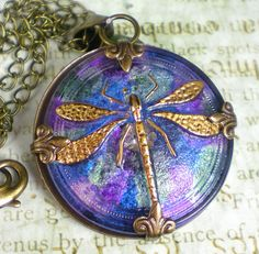 Dragonfly Necklace Watercolor Czech Glass Button Violet Pink Blue Vintage Inspired Dragonfly Jewelry