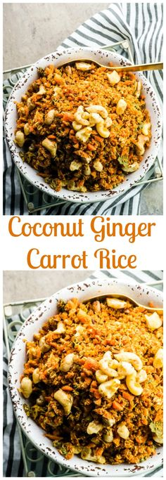 This flavorful , grain free Passover Coconut Ginger Carrot Rice is a great side dish to serve during the Holiday and all year long. Vegan and gluten free. via @mayihavethatrecipe