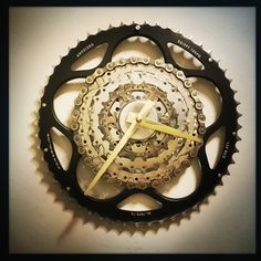 really loving the look of this Bike Gear Wall Clock and the black chainring against the brass tapered clock hands. time to make another one!