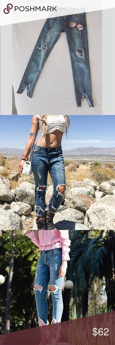NEW! 🌸 Lucky One's🌸 jeans Even if you're not a ripped denim -wearing type of gal, this stylish denim number will convert you! Stay chic and feminine with a 3/4 straight leg distressed in all the right places!  Sizes are Xs (fits 24/25) S (fits 26) M(fits 27) L (fits 28)  😊  Brand: A Summer of love *** not miss me - listed for views Miss Me Jeans Straight Leg