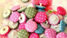 10 Pcs Fabric Polka Dots Buttons 14mm