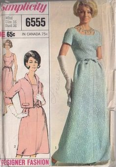 MOMSPatterns Vintage Sewing Patterns - Simplicity 6555 Vintage 60's Sewing Pattern INCREDIBLE Mad Men Designer Fashion Shaped Seams Bodice Cocktail Party Dress, Elegant Red Carpet Evening Gown & Wing Collar Jacket Size 16