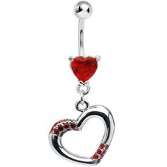 Ruby Red Jeweled Hollow Heart Belly Ring | Body Candy Body Jewelry #bodycandy