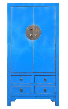 Chinese Distressed Blue Tall Armoire Wardrobe TV Cabinet Cs2016S