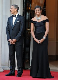 Michelle Obama wearing Ralph Lauren at a dinner at the Winfield House in London in 2011.