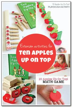 Extension activities for Ten Apples Up on Top featuring math, fine motor, sensory, art, and other activities for preschoolers and early elementary students.  || Gift of Curiosity