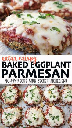 """This Eggplant Parmesan is baked on one sheet-pan, without the addition of extra oil, making it healthier than the traditional fried version! The batter contains a """"secret ingredient"""" that creates a delicious extra crispy crust. Click on the link 🔗to get the full detailed recipe, step-by-step guide w/photos, and full video! 😋 #eggplant #eggplantparmesan #eggplantrecipes #sheetpandinners #vegetarian #vegetarianrecipes Crispy Eggplant, Eggplant Parmesan, Eggplant Recipes, Sheet Pan, Fries, Vegetarian Recipes, Easy Meals, Baking, Springform Pan"""