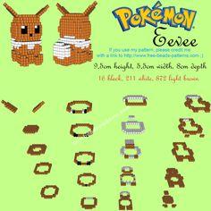 3D Eevee Hama Beads Perler beads Pokemon free design