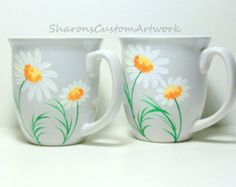 Hand Painted Ceramic Cups Daisies, White daisies, Handpainted Set of 2 -  14 oz. Coffee Cups Coffee Mugs Mothers Day  Painted Ceramic Mugs