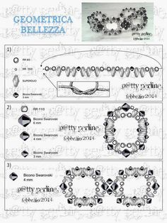 """Patty Perline"" Blog. February 4, 2014. Free tutorial for ""Geometrica Bellezza"" = Geometric Beauty bracelet. Supplies: 8/o, 11/o & 15/o seed beads; 3mm (36), 4mm (36) & 6mm bicones (12); SuperDuo two-hole beads."