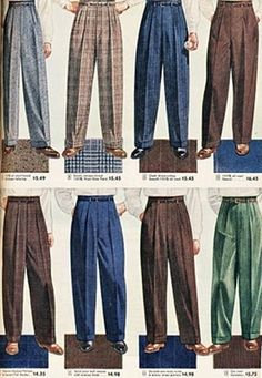I loved these men's slacks. I guess because my Dad wore them….(aw) Sears,… I loved these men's slacks. I guess because my dad wore them …. (aw) Sears, Roebuck and Co. Fashion 60s, 1940s Mens Fashion, Fashion History, Fashion Outfits, Fashion Trends, Fashion Boots, Style Fashion, Womens Fashion, Vintage Clothing