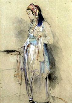 Artist: John Frederick Lewis Title: A Young Woman from Bursa 1840 Signed in pencil, lower right J.F.Lewis/Brussa Medium: Watercolour, heightened in white, black chalk Size: 164.2 x 105.9 in /(417 x 269cm) -