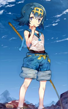 Lana from pokemon sun and moon pokemon pinterest sun for Fishing rod pokemon moon