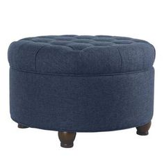 """Three Posts™ Manford 32"""" Wide Genuine Leather Round Storage Ottoman & Reviews   Wayfair Large Round Ottoman, Round Storage Ottoman, Tufted Storage Ottoman, Fabric Ottoman, Shoe Holders, Clutter Free Home, Tufting Buttons, Living Room Furniture, Storage Spaces"""