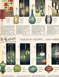 Spiegel 1968 catalog lighting page showing a variety of Swags Lamps and other lamps with beautiful globe shades to brighten your decor.