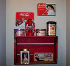 Wooden Coke crate used as a shelf. - LOVE THIS! REMEMBER to see if JC has any!!