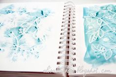 White crayon as watercolor resist -- love the idea of using the wet page to create a light print on another page. It would make a great background for journaling or a mixed media piece.