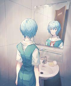 Neon Genesis Evangelion, Rei Ayanami, Alien Logo, My Dream Team, Aesthetic Wallpapers, Pop Culture, Original Art, Geek Stuff, Kawaii
