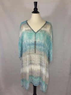"""NEW CHICO'S $119 Dreaming Python Caftan Cool Multi Sheer 30"""" Womens Top NWT #Chicos #Caftan #EveningOccasion"""