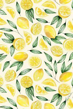 Frühling Wallpaper, Iphone Background Wallpaper, Fruit Pattern, Pattern Art, Pattern Designs, Surface Pattern Design, Lemon Art, Frida Art, Cute Patterns Wallpaper