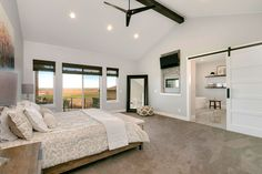 Sprawling Mountain House Plan with Split Beds - 95068RW | Architectural Designs - House Plans Master Bedroom Plans, Master Bedroom Addition, Master Bedroom Layout, Bedroom Layouts, Dream Bedroom, Bedroom Ideas, Master Room, Bedroom Decor, Best House Plans