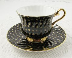 Vintage Black Tea Cup and Saucer with Gold Stars, English Bone China, by Sutherland