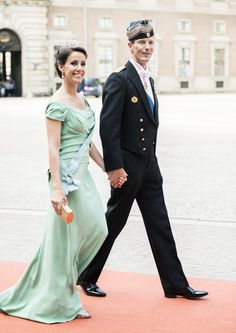 Princess Marie (in Alberta Ferretti) and Prince Joachim of Denmark arrive for the wedding ceremony; wedding of Prince Carl Philip of Sweden and ms. Sofia Hellqvist, June 13, 2015