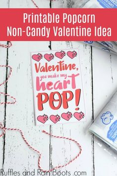 Non-Candy Popcorn Valentine Printable Card Valentine's Day Printables, Printable Cards, Creative Crafts, Diy Crafts, Valentine's Cards For Kids, Free Candy, Valentines For Kids, Valentine Cards, Valentine Decorations