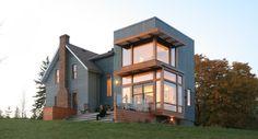 architektenhaus holz stein vorgartengestaltung