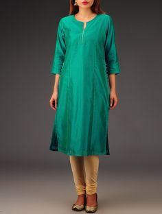 Buy Green Chanderi Zari & Button Detailed Kurta Online at Jaypore.com
