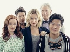 Still of Rebecca Romijn, Lindy Booth, Christian Kane, John Larroquette and John Kim in The Librarians (2014)