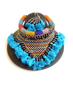 Bead Choker Set with Thread Tassels- Turquoise