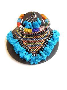 Bead Choker Set with Thread Tassels- Turquoise