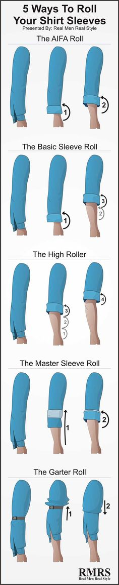 How To Roll Shirt Sleeves | 5 Ways To Fold Your Shirt Sleeves | Sleeve Rolling Infographic