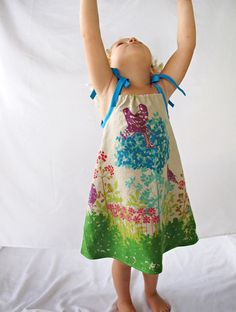 Blissful Day - Made with Teal Blue, Chartreuse Green and Sand Colored Linen Fabric - From Dress to Tunic with Tie Straps. via Etsy. // claradeparis.com adore!