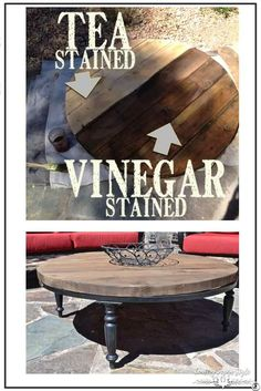 How to aged new wood to look like barn wood like in this tabletop and many other DIY projects I've made. | Country Design Style | countrydesignstyle.com