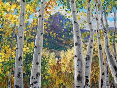 Mountain View - Aspen tree landscapes of Colorado and Birch Tree Aspens Paintings by Jennifer Vranes