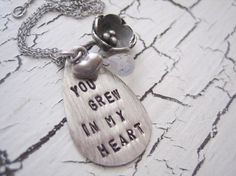 hand stamped mommy necklace you grew In my by hazelnutcottage