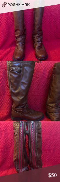 Madden Girl brown riding boots Good used condition! Size 8 Madden Girl medium-brown riding boots. Minor wear on the bottoms, one inch-long thin scuff on left boot. Super small heel Madden Girl Shoes Heeled Boots
