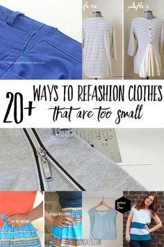 Mar 2020 - How do you reuse clothes that are too small? You can upcycle them them into something new like a pillow or you can refashion them to fit you! I've rounded up a fun list of Trash To Couture, Jeans Refashion, Diy Clothes Refashion, Refashioned Clothes, Thrift Store Refashion, Diy Clothes Tutorial, Reuse Clothes, Sewing Clothes, How To Make Clothes