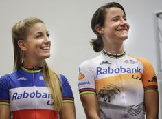Pauline Ferrand-Prevot, wearing the French National Champion colors and world stripes, and Marianne Vos, also sporting the world champion stripes Marianne Vos, Cycling Girls, Sports Stars, Hot Wheels, Champion, Kicks, Bicycle, Stripes, French