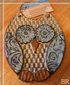 Hand made Owl Wall Hanging - Pottery Stoneware Garden Ornament $34