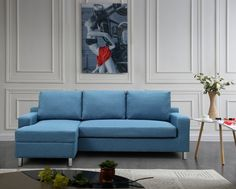 Shop for US Pride Furniture Hampton Linen Fabric Sectional Sofa with Pull-out Bed. Get free delivery On EVERYTHING* Overstock - Your Online Furniture Shop! Fabric Sectional, Sleeper Sectional, Blue Sectional, Sofa Furniture, Living Room Furniture, Furniture Ideas, Studio Furniture, Large Furniture, All Modern