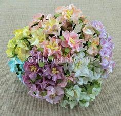 50 MIXED COLOUR MINIATURE GARDENIA FLOWERS MKX-198