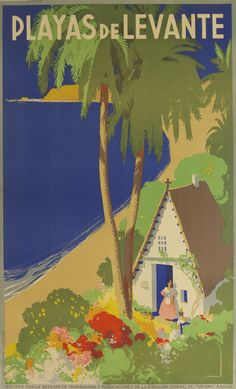 1935 Spain's Beaches Travel Poster