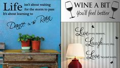 Wall Quote Stickers - 5 Designs Spruce up the decor of any room with these Wall Quote Stickers      Quotes to choose from:                'Live, Laugh, Love'          'Wipe the Seatie'          'Dance in the Rain'          'Wine a Bit'          'Keep Smiling - Marilyn Monroe'                  All stickers are made from high quality, matt-finish transparent vinyl      Can be stuck onto most...