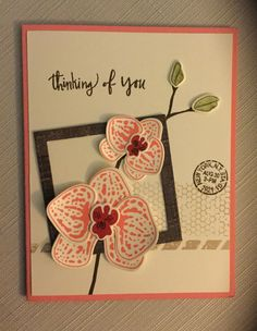 Climbing orchid Stampin up card with butterfly basic back ground
