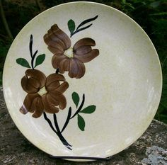 "15.00  Blue Ridge Ceramic ""Caroline"" Plate 9.5""D Chartreuse Green & Brown"