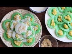 Banh Beo Ngot La Dua (Steamed Rice Pandan Cakes with Mung Bean and Coconut) - YouTube
